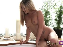 Strapon lesbian strapon sex in the hot tub