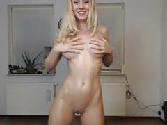 Sexy blonde oil and cream cum