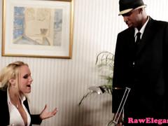 Busty glamcore babe assfucked by black cock