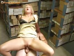 Nasty blonde loves hard cocks at her work place.
