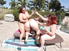 3 big booty bbws get fucked out by the pool