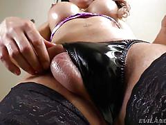 Brunette shemale is playing alone with her cock