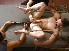 Dude gets tortured while having his dick jerked