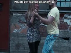 Horny couple nudity flash and shameless blowjob in the park