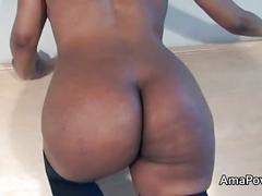 Ebony in school outfit with long nipples