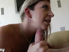 Blonde milf sara jay sucks a hard cock pov style