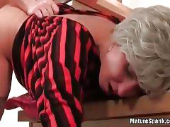 blowjob, milf, blindfold, stockings, mature, amateur, spanking