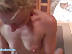 Erotic lapdance and handjob by wild czech cougar