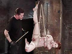 bdsm, hanging, vibrator, fingering, tied up, redhead babe, hot wax, rope bondage, hogtied, kink, amarna miller