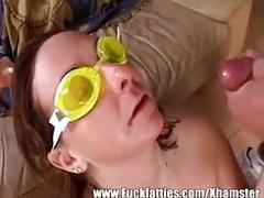 Chubby mature gets fucked with goggles on