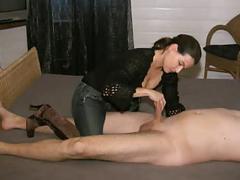 Katie gives a handjob 1