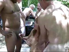 Blonde and brunette milfs suck a lot of hard cocks