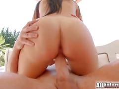 Brunette babe gets her first ever vaginal creampie