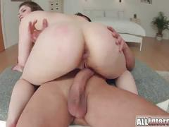 Busty brunette babe gets her ass fucked deeply.