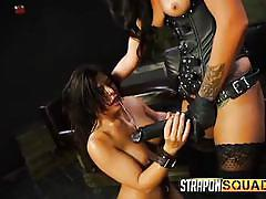 bdsm, lesbians, big tits, strap on, busty, lesbian domination, from behind, brunette babe, strapon squad, fetish network, alexa pierce, esmi lee