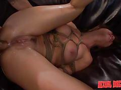 Helpless bitch is bonded and screwed