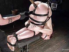 bdsm, torture, dildo, vibrator, brunette babe, executor, ball gag, device bondage, metal bondage, device bondage, kink, mandy muse, the pope