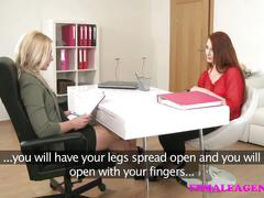 Femaleagent sexy blonde slides her strapon into slim redhead