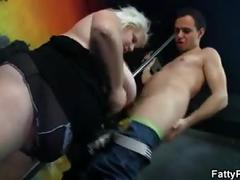 Big melons blonde swallows cock