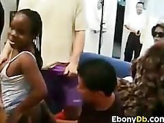 Ebony midget in a gang bang