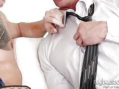 Sexy blonde is having fun with bisexual dudes @ bi-sexual cuckold #08
