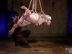 sadism, babe, hanging, piercing, brunette, tied up, clothespins, rope bondage, sadistic rope, kink, katharine cane