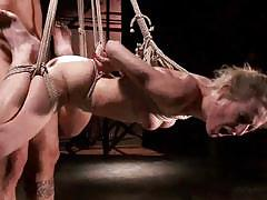 Amazing blonde babe gets extreme bondage session.