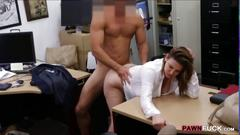 Big tits business lady fucked by pawn man at the pawnshop