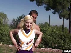 Blonde cheerleader fucks hard after practice