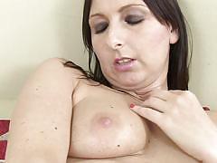 Pierced mature teases her vagina
