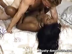 Busty ebony sierra getting rammed by white cock