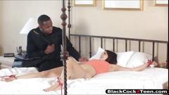 Teen tiffany star rides on a big black cock for a cum facial