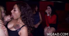 Horny chick party with chiseled strippers and give head