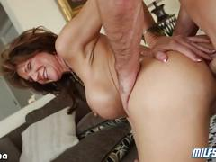 Deauxma with silicone tits given some hard cock
