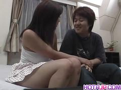 Busty japanese nana masaki sucking a tiny cock