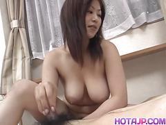Busty japanese nana masaki sucking a tiny cock