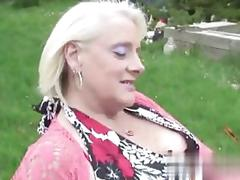 Fat ripe slut teasing grandpa with her shaved pussy