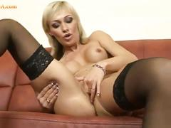 masturbation, babe, blonde, solo, pussy, stockings,