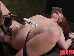dildo, fingering, brunette, tied up, disgrace, fuck from behind, gag, device bondage, tatooed, sexual disgrace, fetish network, autumn kline