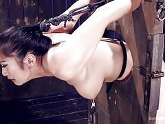 bdsm, busty, brunette, fingering pussy, bondage device, executor, weight on tits, asian babe, device bondage, kink, orlando, mia li