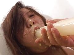 Girl forced dildo gagging vomit puke puking vomiting