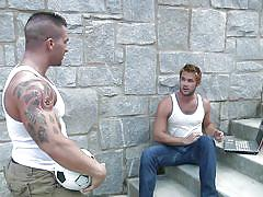 tattoo, handjob, students, big dick, muscled, cock sucking, gay blowjob, gay, at school, big dicks at school, men.com, mike de marko, braden charron