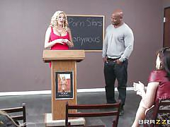 Blonde just can't get her hands off the dick