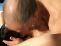 Hot young mistress dominates old man in the attick