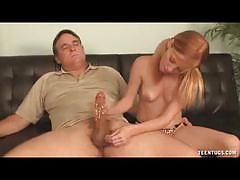 Teen redhead alyssa hart jerks off an older dude