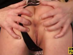 Uk sub assfucked while dildofucking her pussy
