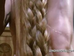 Longhaired blonde milf braided hair fucked doggystyle cum on hair