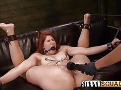 bdsm, lesbians, redhead, strap on, lesbian domination, vibrator, ball gag, in chains, nipple clamps, strapon squad, fetish network, rose red, mila blaze