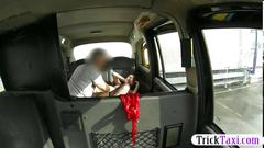 Amateur passenger fucked in the backseat by fraud driver
