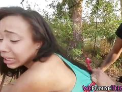 Ebony teen tied, punished and fucked in the forest